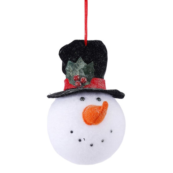 Plastic 8.5 x 4.24 Black Hat Snowman Head Ornament
