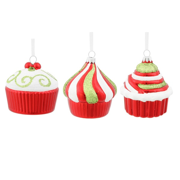 Red Cup Cake Plastic 3-inch Assorted Ornaments (Pack of 3) 20785313