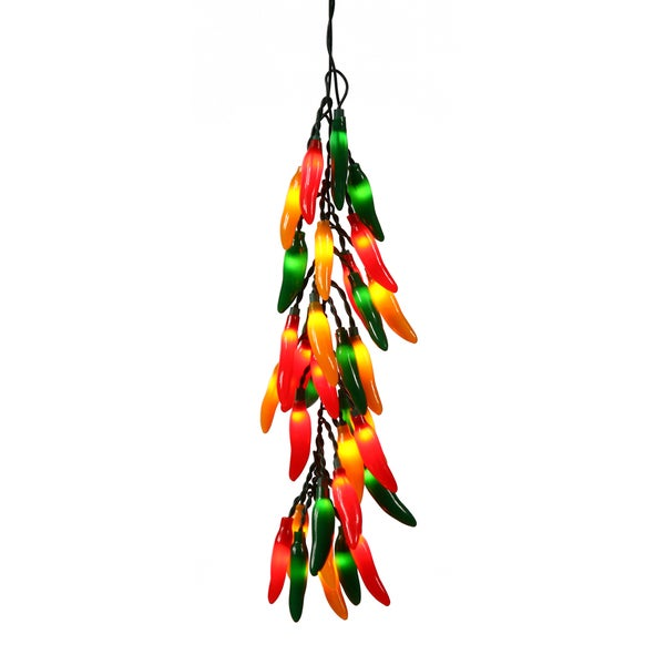 Red/Green/Yellow 18-inch Chili Pepper Bunch with 35 Lights