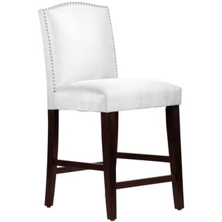 Skyline Furniture Nail Button Camel Back Counter Stool in Microsuede White