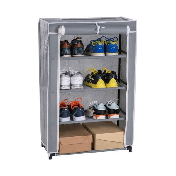 Grey Metal/Fabric 4-tier Shoe Closet