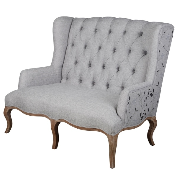 Kendall White Button Tufted Settee