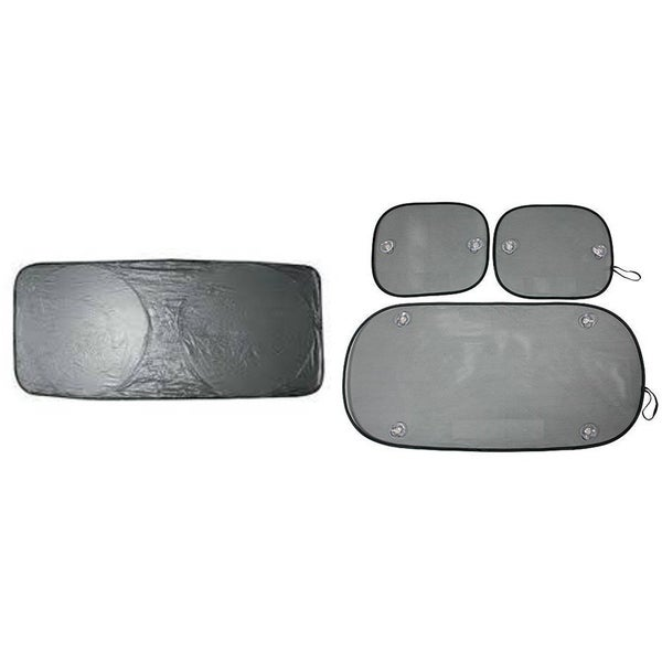 Metallic Silver Front, Rear, and Side Vehicle Sun Shades