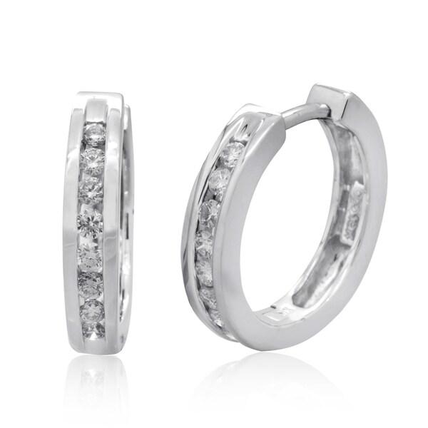 10k White Gold 1/3ct TDW Channel-set Diamond Hoop Earrings (H-I, I2-I3)