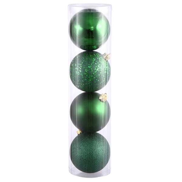 Emerald Green Plastic 8-inch Assorted Ornaments (Pack of 4)