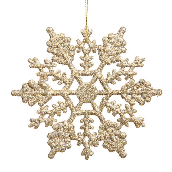 Champagne 6.25-inch Snowflake Ornament (Pack of 12) 20787737