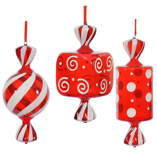 Red/White Plastic 15-inch Fat Candy Assorted Ornaments (Pack of 3)