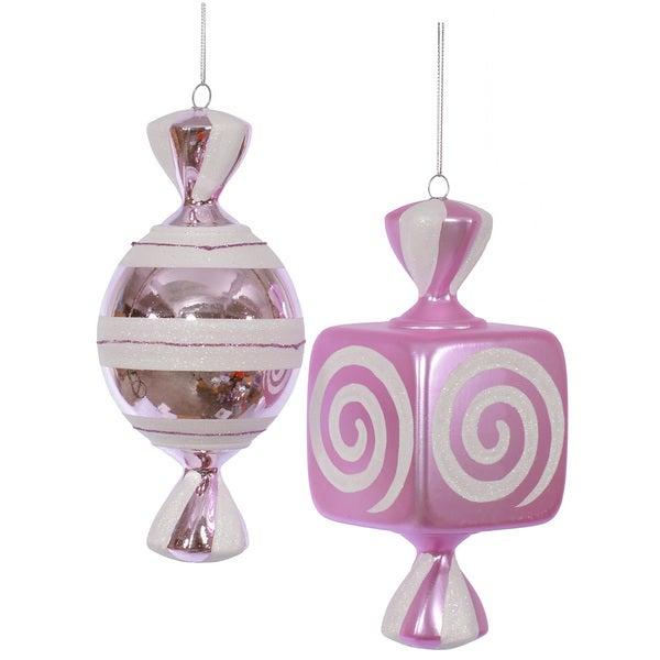 Pink and White Plastic 8-inch Fat Candy Assorted Ornaments (Set of 2)