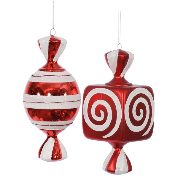 Red/White 8-inch Fat Candy Assorted Ornaments (Pack of 2)