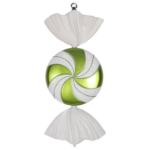 Lime and White 18.5-Inch Swirl Candy Iridescent Glitter Ornament