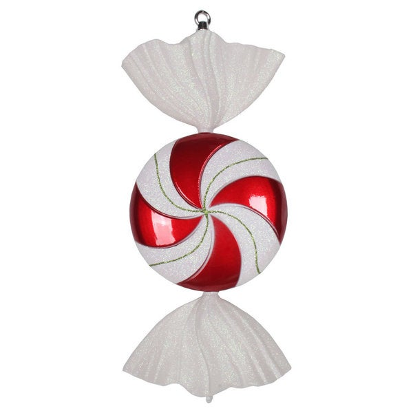 Red-White Swirl Candy Iridescent Glitter 18.5-inch Ornament