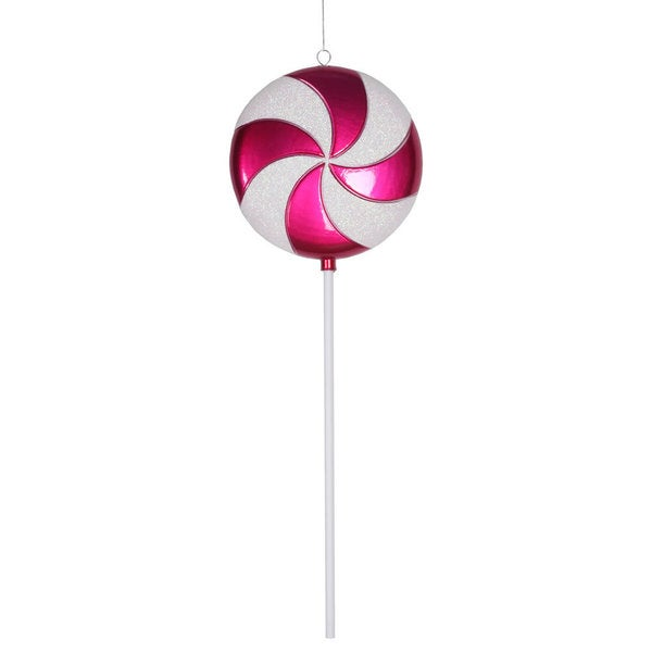 Cerise-White Plastic 24-inch Candy Lollipop Ornament