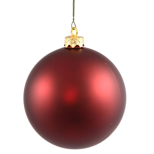 Burgundy Plastic 2.4-inch Matte Ball Ornaments (Case of 60)