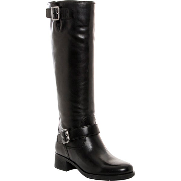 Prada Buckle Detail Knee-High Leather Boots Size 8 in Black (As Is Item)