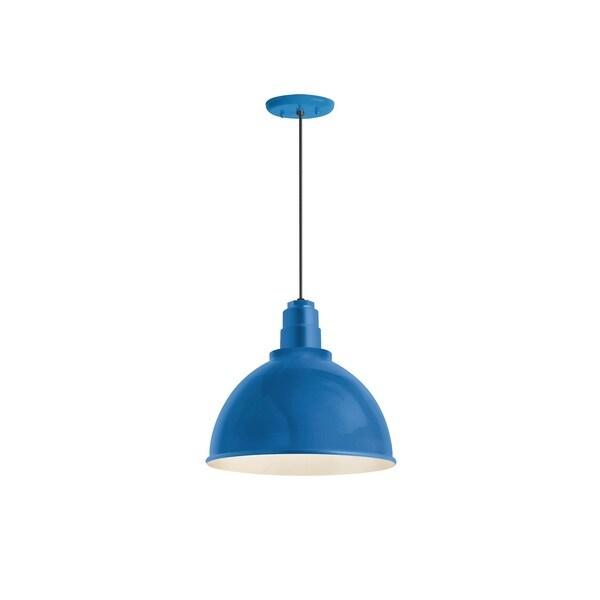 Troy RLM Lighting Deep Reflector Blue Pendant, 16 inch Shade