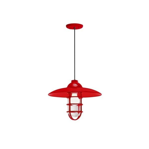 Troy RLM Lighting Retro Industrial Red Dome Wire Guard Pendant