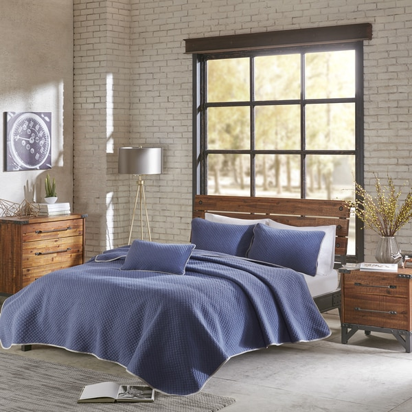 INK+IVY Shelby Navy Cotton Jersey Heathered Coverlet Set