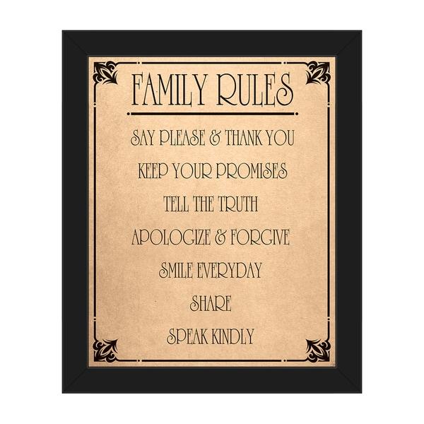 'Family Rules' Framed Canvas Wall Art