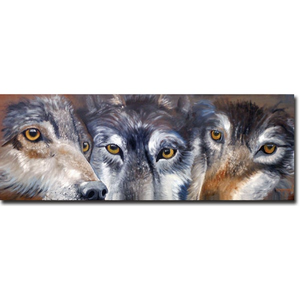 WGI Gallery 'Too Close for Comfort Wolves' Wall Art Printed on Wood