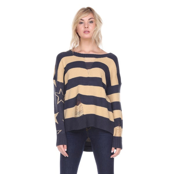 Stanzino Women's Striped Distressed Sweater