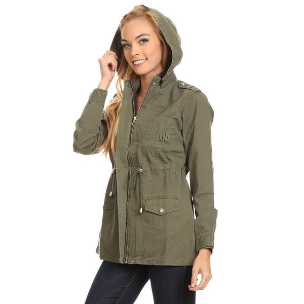 Women's Cotton Jacket with Detachable Hoodie