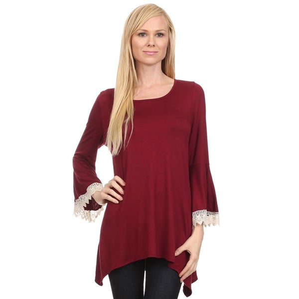 Women's Lace Trim Rayon/ Spandex Sleeve Top