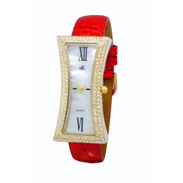 Adee Kaye Ladies 'Curvacious' Red Crystal Watch