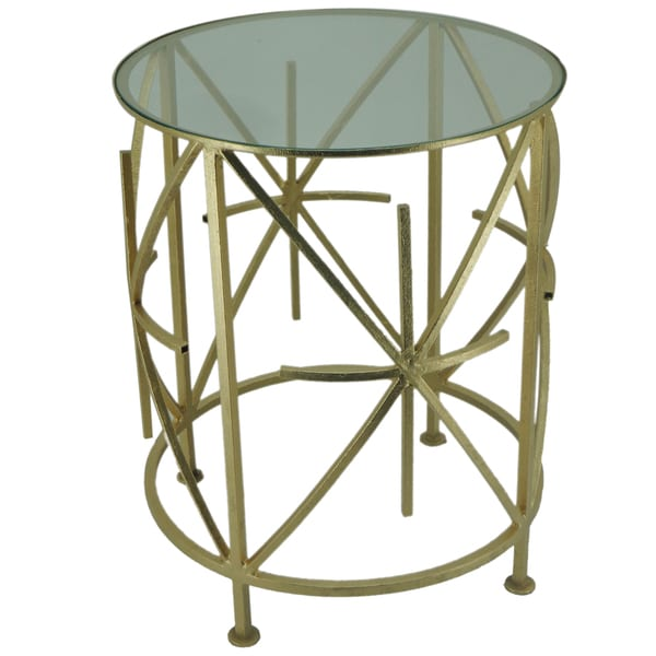 Neville Round Goldtone Side Tables (Set of 2)