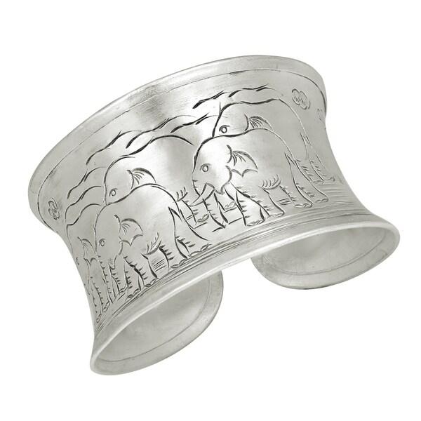 Handmade Elephant Family Parade Thai Karen Sterling Silver Bracelet Cuff (Thailand) 20796752