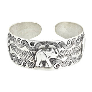 Handmade RainForest Triple Elephant Hill tribe Sterling Silver Cuff Bracelet (Thailand)