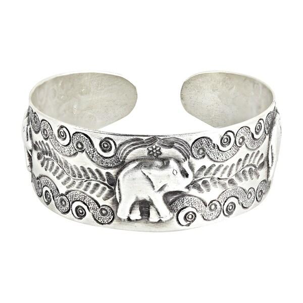 Handmade RainForest Triple Elephant Hilltribe Silver Cuff Bracelet (Thailand) 20796753