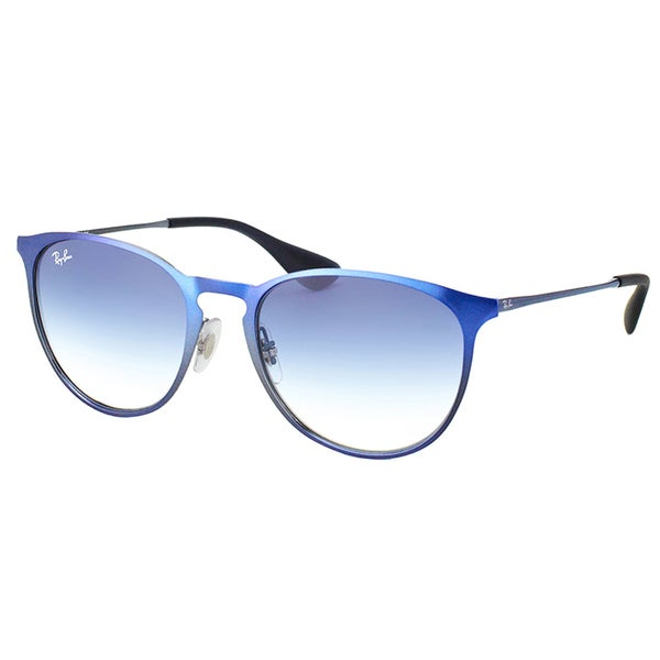 Ray-Ban Erika Metallic Blue Metal Round Gradient Sunglasses