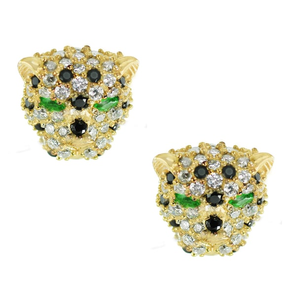 One-of-a-kind Michael Valitutti Green, Black and Clear Cuic Zirconia Leopard Stud Earrings