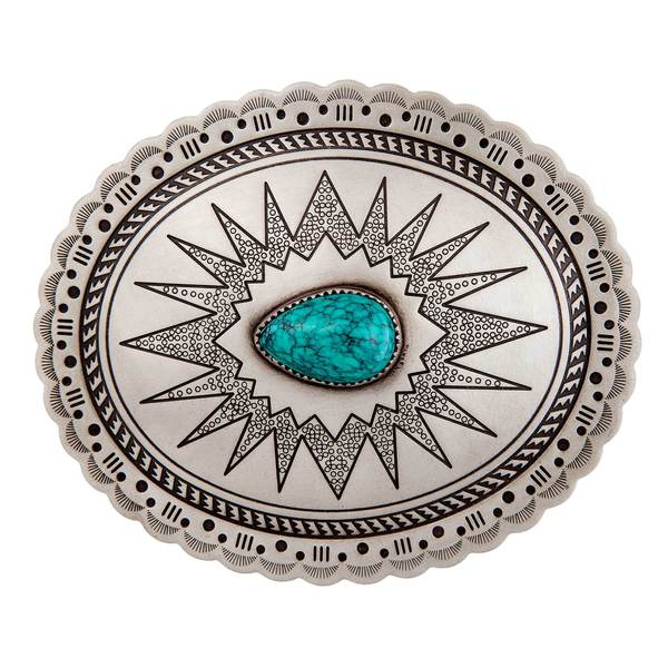 Brass/Turquoise Belt Buckle