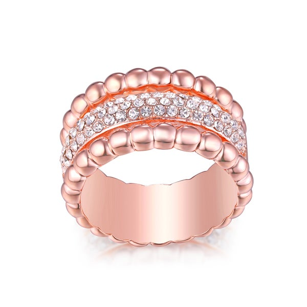 18K Gold Plated Rose Gold & Crystal Ball Elements Band