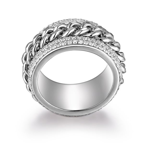Peermont Jewelry 18k White Gold-plated Brass Link Statement Ring