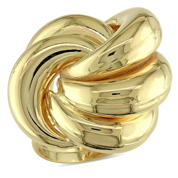 Swirl Knot Cocktail Ring in Yellow Plated Italian Sterling Silver by Miadora