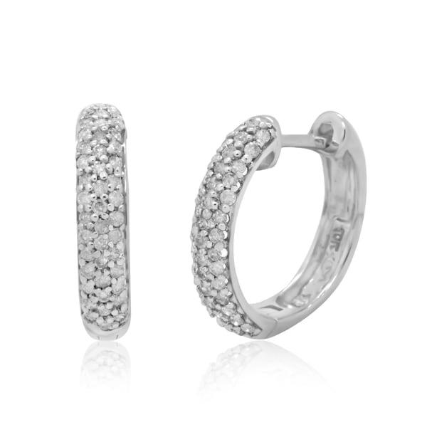 10k White Gold 1/2ct TDW Round-cut Diamond Hoop Earrings (H-I, I2-I3)