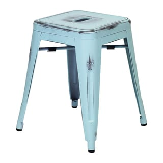 "Handmade 18"" Distressed Blue Stool"