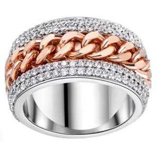 18k White-goldplated Two-tone Link Statement Ring
