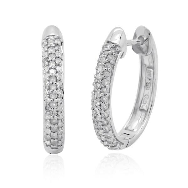 10k White Gold 1/2ct TDW Round Diamond Hoop Earrings (H-I, I2-I3)