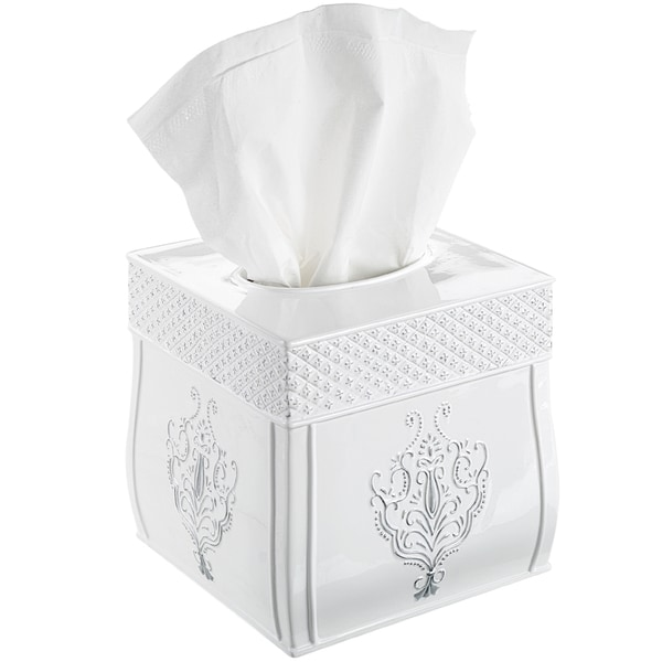 Creative Scents Vintage White Square Tissue Box Cover