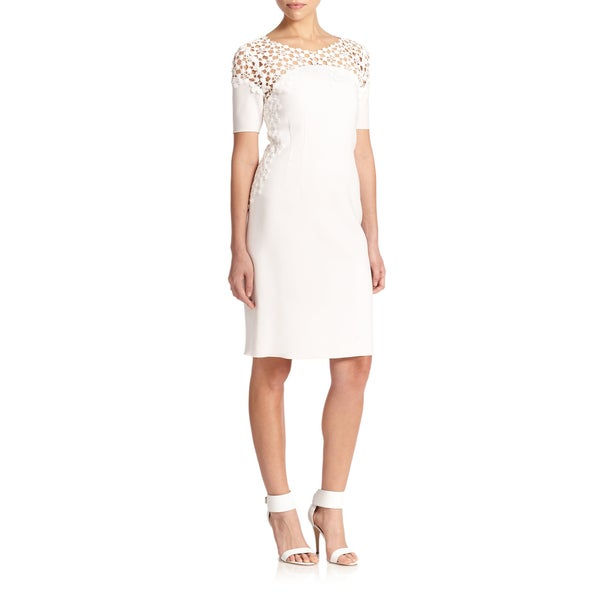 Elie Tahari Women's Suzie Lace Trim Dress -  fashion habits llc