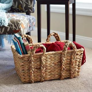 Large Rectangular Wicker Floor Basket with Braided Handles