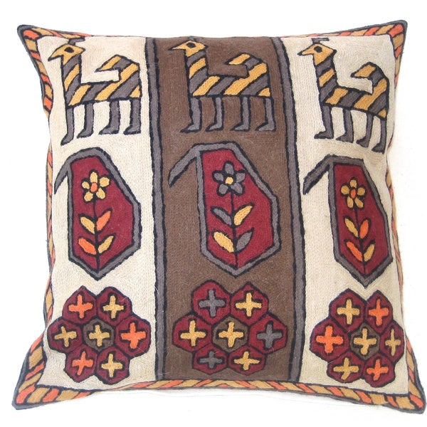 Dessert Handmade Chain Stitch Throw Pillow (India)