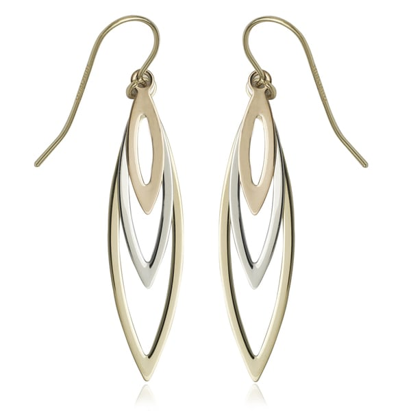 10k Tri-color Gold Open Marquise Drop Earring