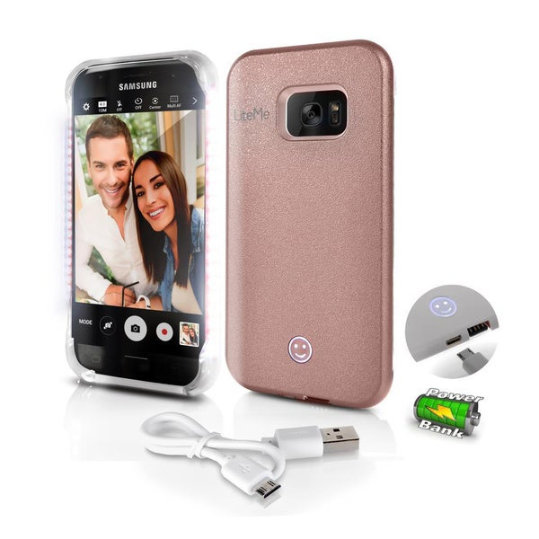 Lite-Me Selfie Lighted Samsung Galaxy S7 Smart Case With Power Bank and LED Lights