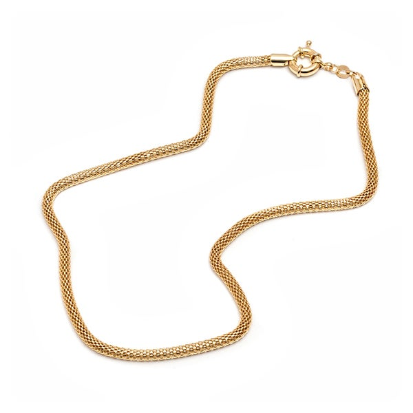 18K Gold-plated Gold Mesh Link Chain Necklace