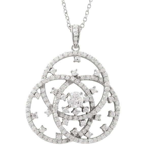Luxiro Sterling Silver Cubic Zirconia Linked Circle Pendant Necklace