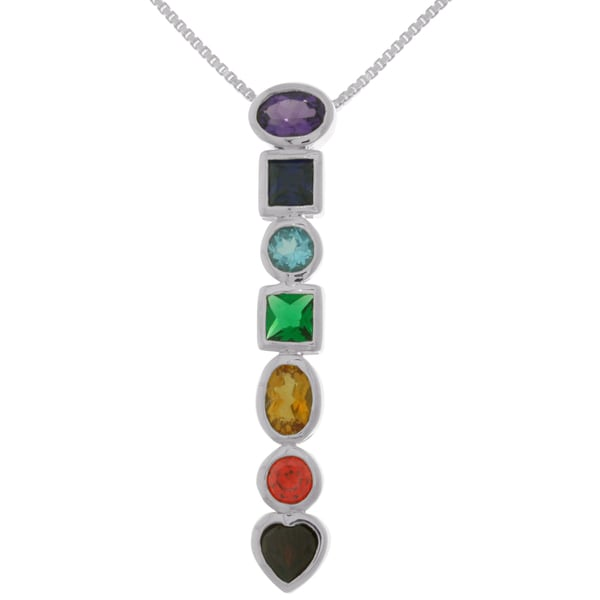 Carolina Glamour Collection Sterling Silver Multi Gemstone Seven Life Force Energy Chakra Pendant